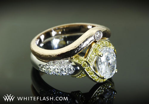 White Flash Yellow Diamond Engagement Ring