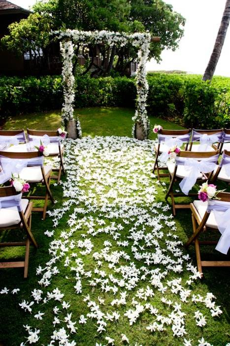 Flower Petal Wedding Aisle