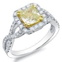 2.08 Ct. Canary Fancy Light-Fancy Yellow Cushion Cut Diamond Engagement Ring