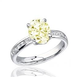 1.51 carat Oval Fancy Light Yellow Diamond Engagement Ring in 18k White Gold