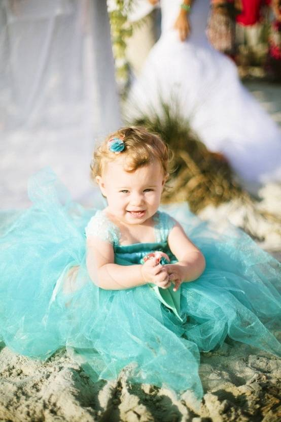 Tiffany Blue Flower Girl Dress