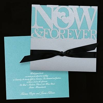Tiffany Blue, White, and Black Wedding Invitations