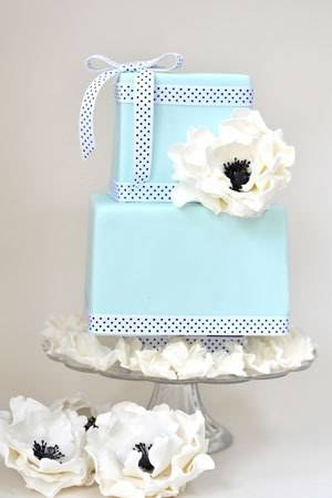 Tiffany Blue Wedding Cake with Black and White Accents