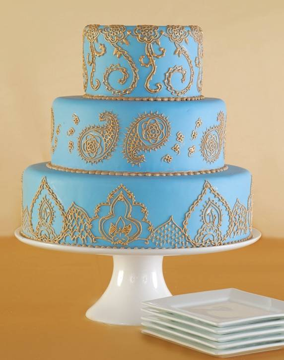 Tiffany Blue Wedding Cake with Gold Accents