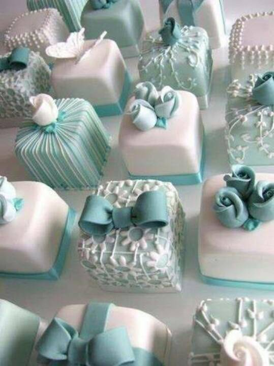 Tiffany Blue and White Individual Wedding Cakes