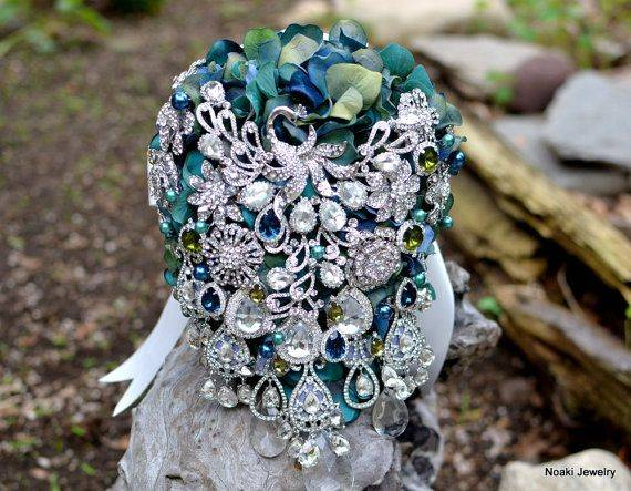 Vintage teal and blue peacock brooch bouquet