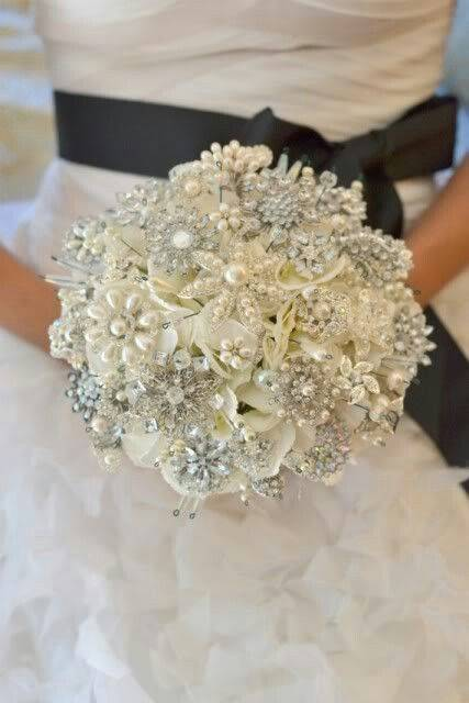 Silver and White Brooch Bouquet