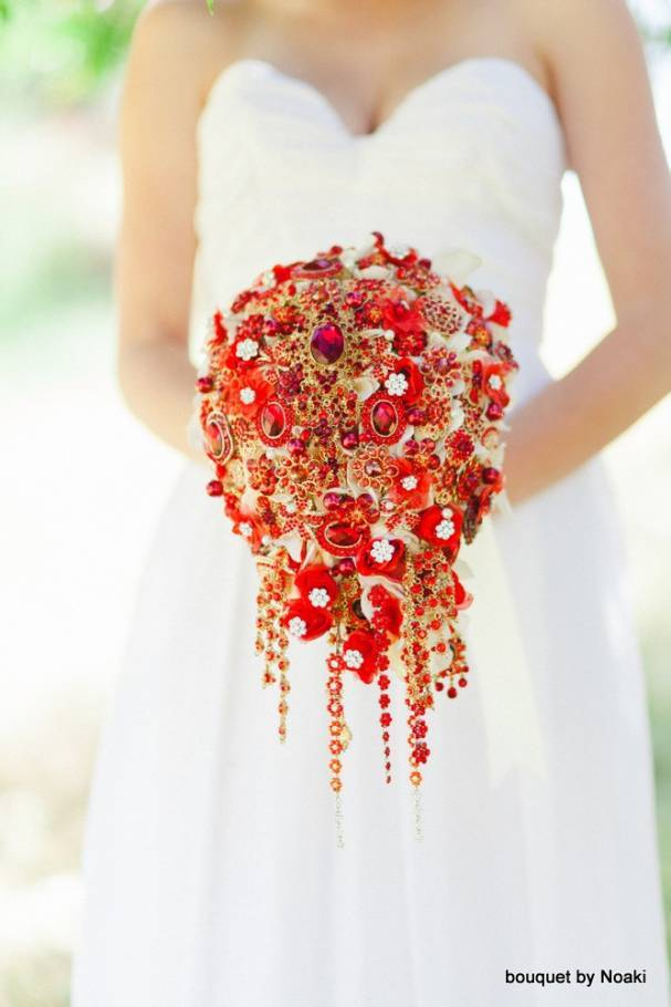 Cascading Red Brooch Bouquet