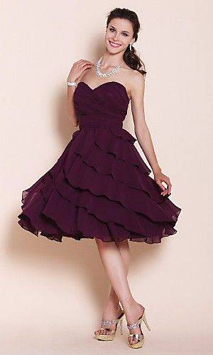 Adorable A-line Sweetheart Knee-length Chiffon Bridesmaid Dress