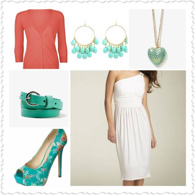 White Dress with Turquoise and Coral Accessories
