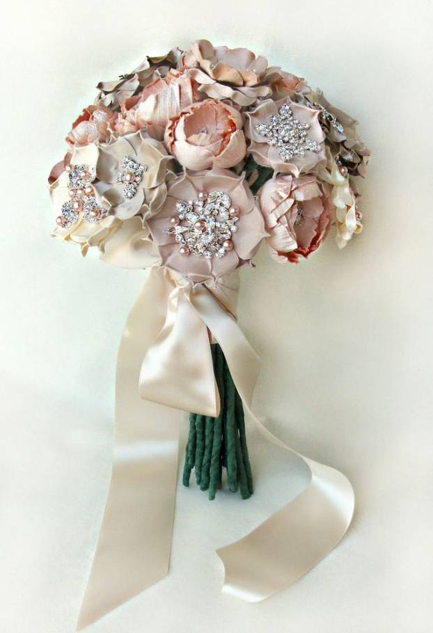 Blush Pink Peonie Bouquet with Brooches