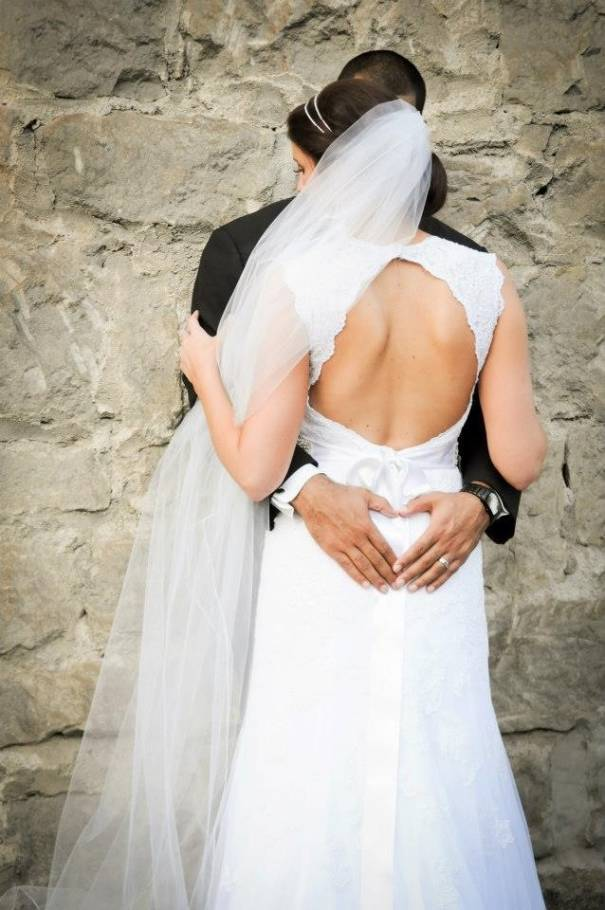 Bride and Groom Embracing with Heart