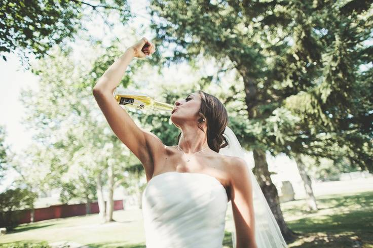 Bride Drinking With Arm