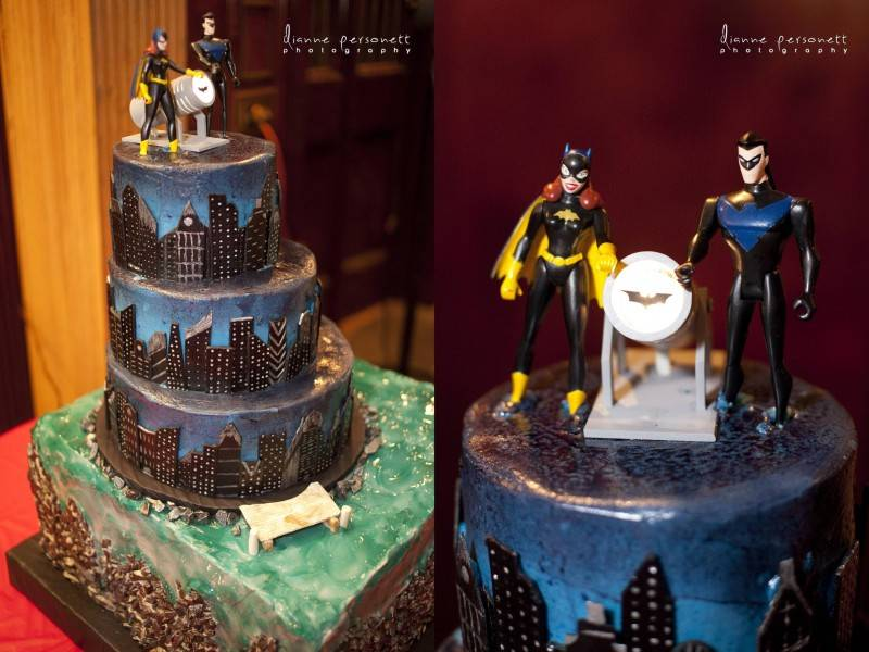 The amazing wedding cake complete with working Bat-signal made by the in-laws
