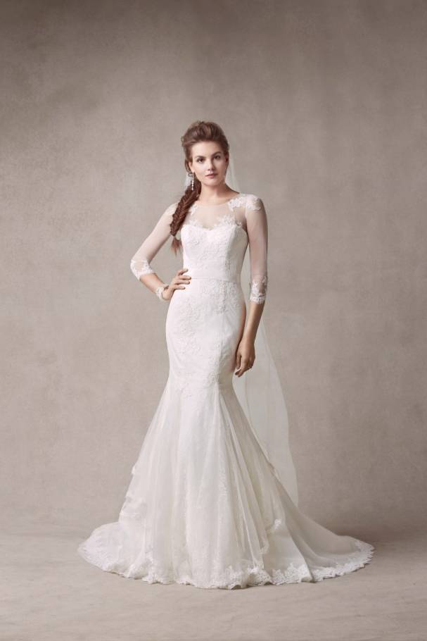 www.davidsbridal.com/Product_Chantilly-Lace-Trumpet-Gown-with-Illusion-Sleeves-MS251089