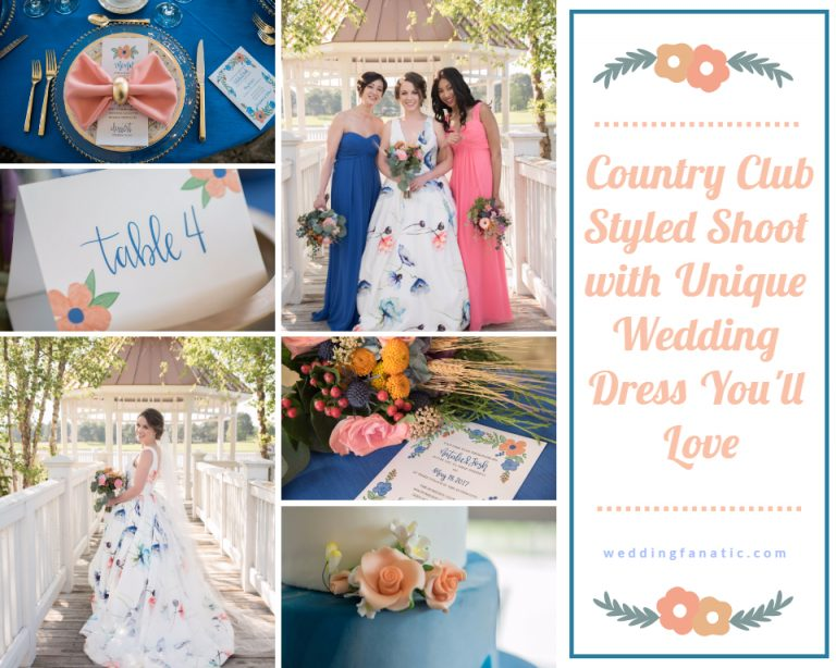 Country Club Styled Shoot with Unique Wedding Dress You'll Love