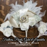Feathers Pearls Gold and Sparkles