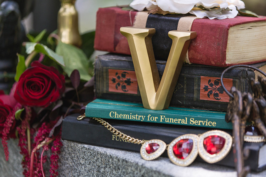Dark and Vampy Anniversary Session in Historic Cemetery