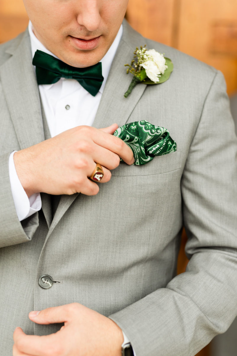Trendy Intimate White and Green Orchard Wedding