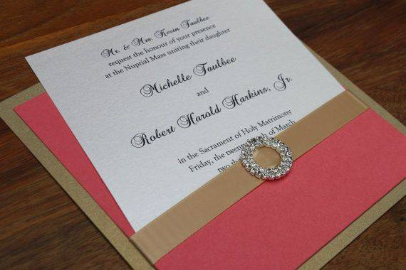 Wedding Invitations Coral Color: 2014 Hot Wedding Color Palette Trend: Coral And Gold