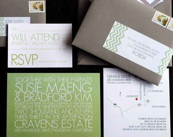 Wedding Color Palette: Gray, Green and Navy