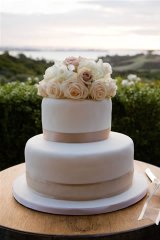 Floral Two-Tier Wedding Cake
