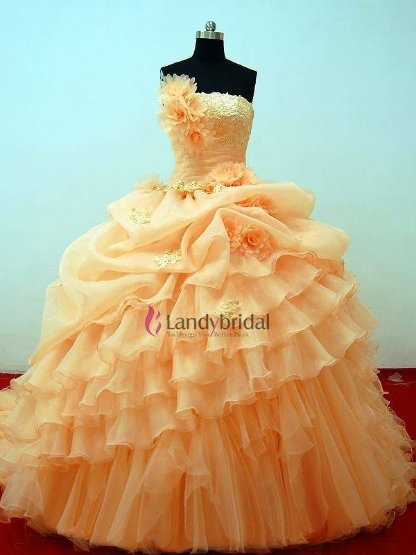 Soft Orange Wedding Dress