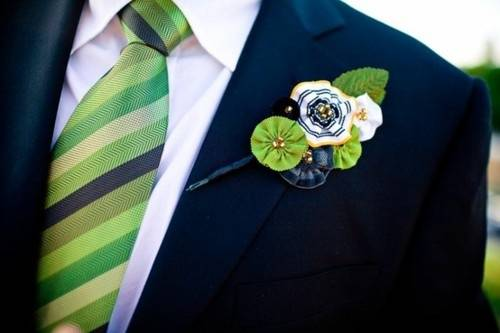 Navy and Green Fabric Boutonniere