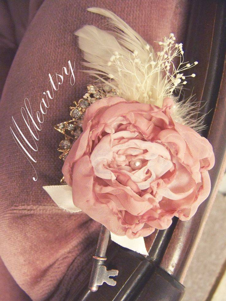 Blush Pink Fabric Flower Boutonniere