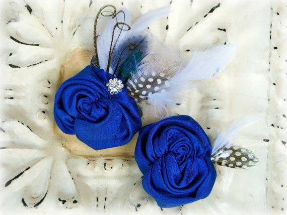 Blue Fabric Flower and Feather Boutonniere
